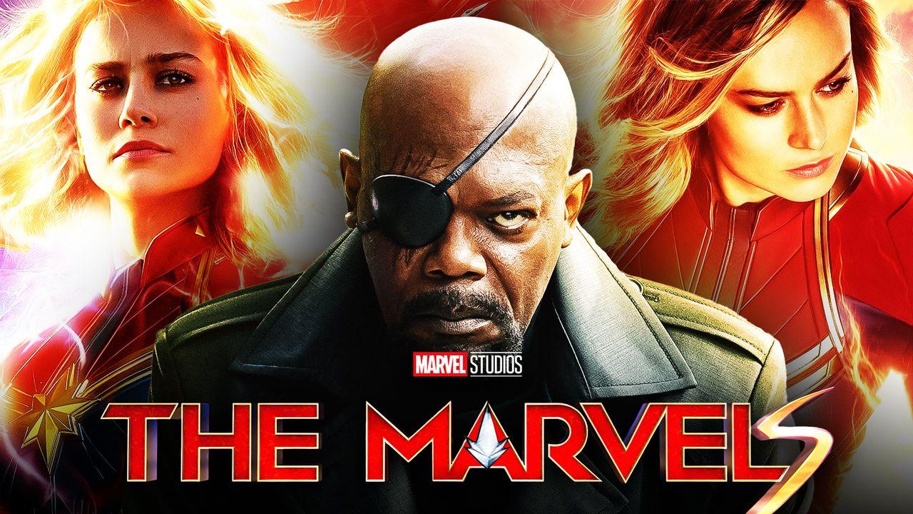 Brie Larson as Captain Marvel, Nick Fury, Captain Marvel, The Marvels logo