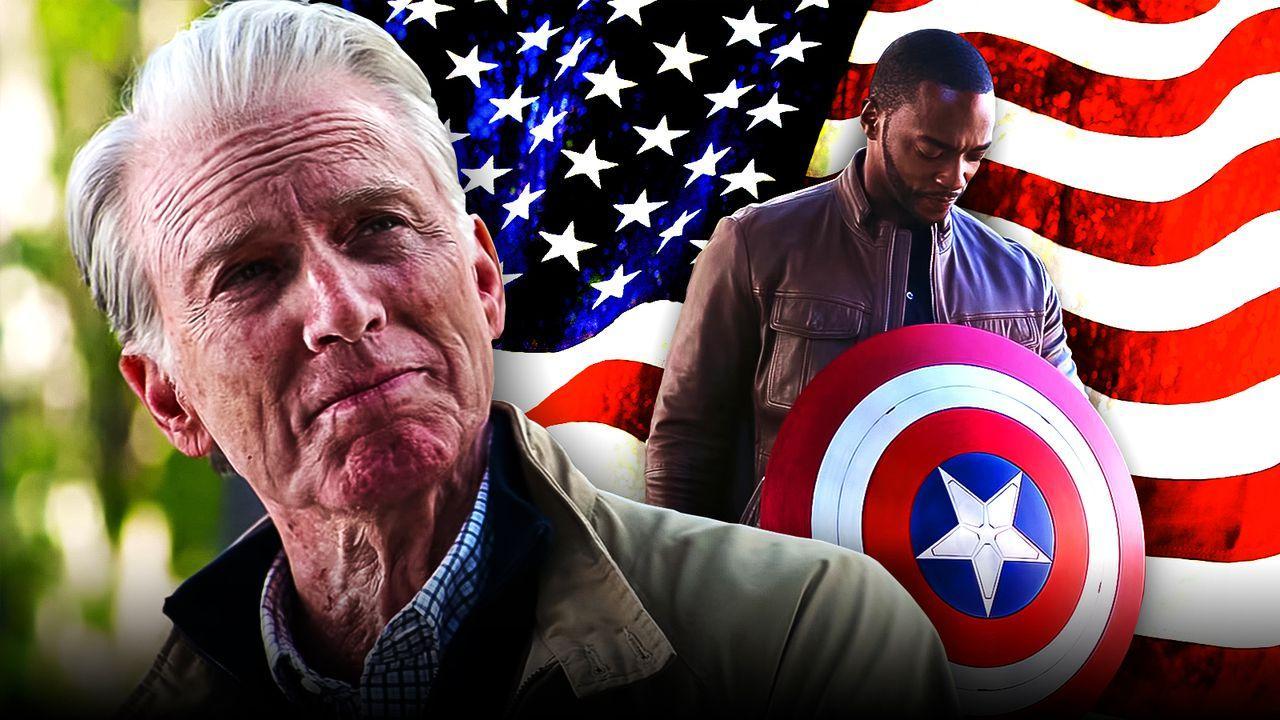 Chris Evans as Steve Rogers, Anthony Mackie as Sam Wilson, American flag