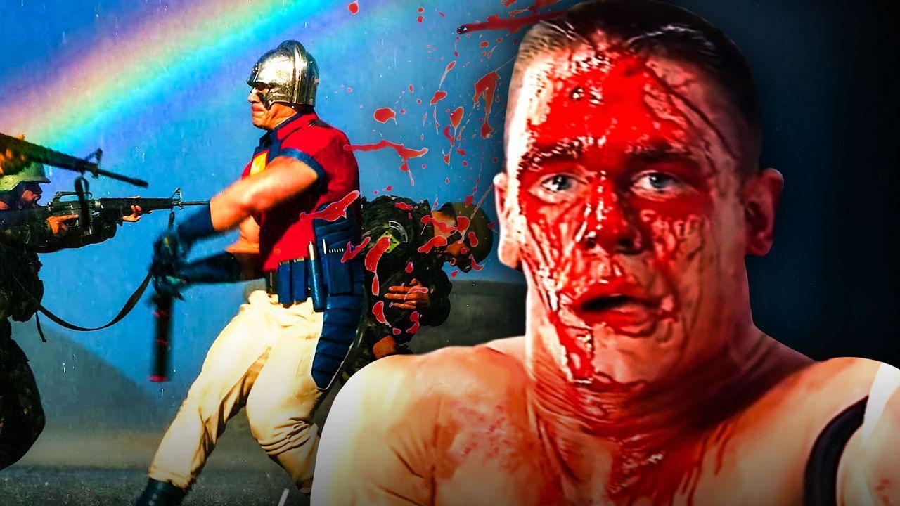 John Cena bloody, Peacemaker suit