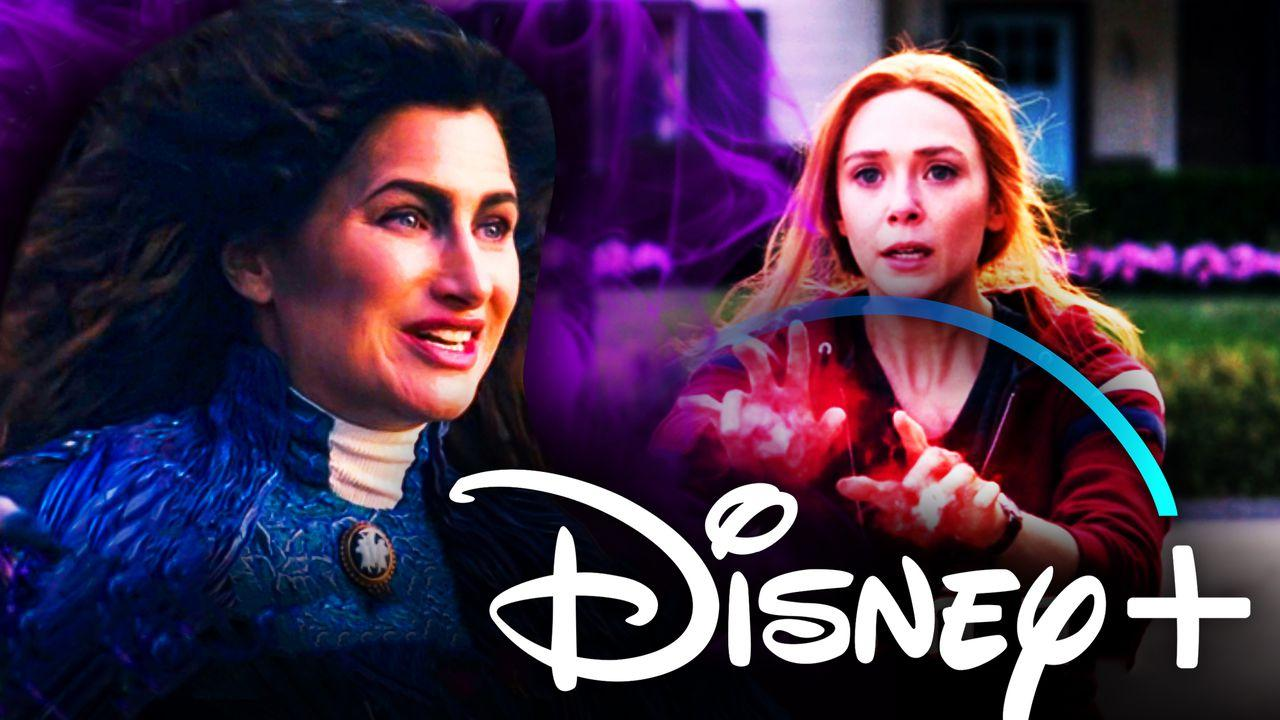 Kathryn Hahn as Agatha Harkness, Disney+ logo