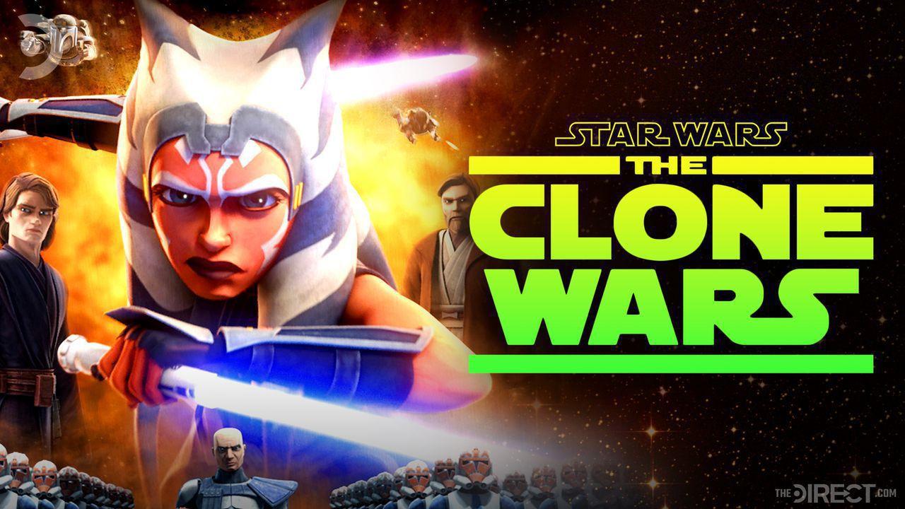Ahsoka with lightsaber, Star Wars: The Clone Wars logo
