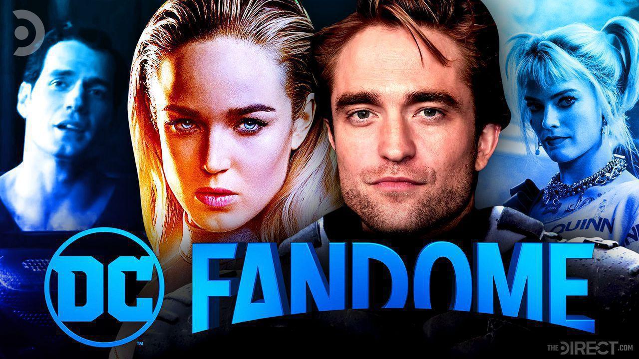 Superman, Black Canary, Batman, Harley Quinn, DC FanDome logo