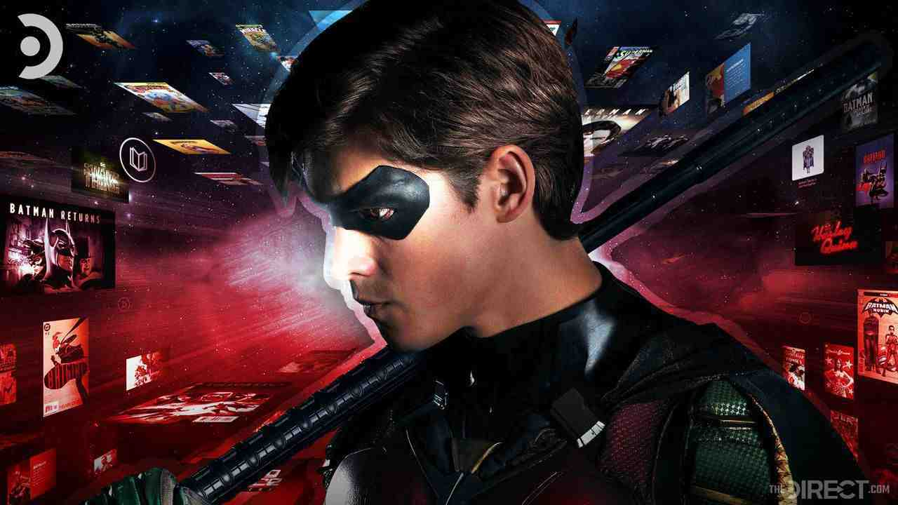 Robin from DC's Titans with DC titles in background