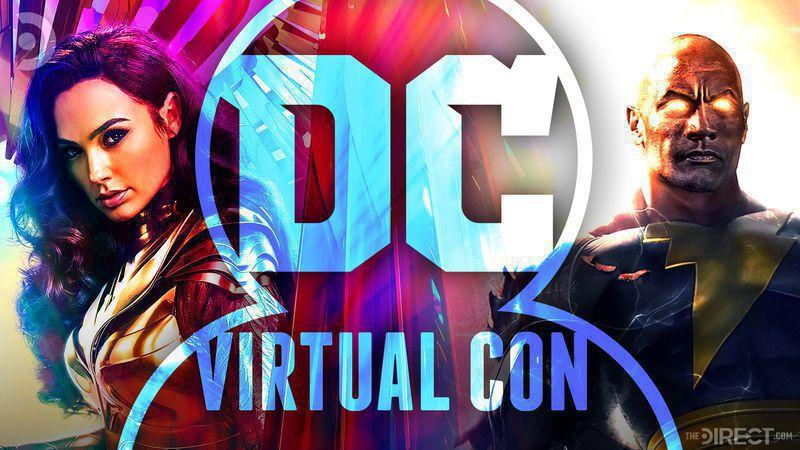 Gal Gadot's Wonder Woman and the Rock's Black Adam behind a DC virtual convention logo.