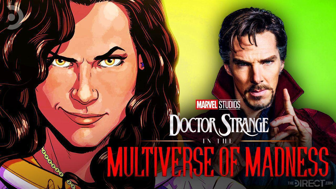 Comic portrait of America Chavez on the left, Benedict Cumberbatch as Doctor Strange on the right