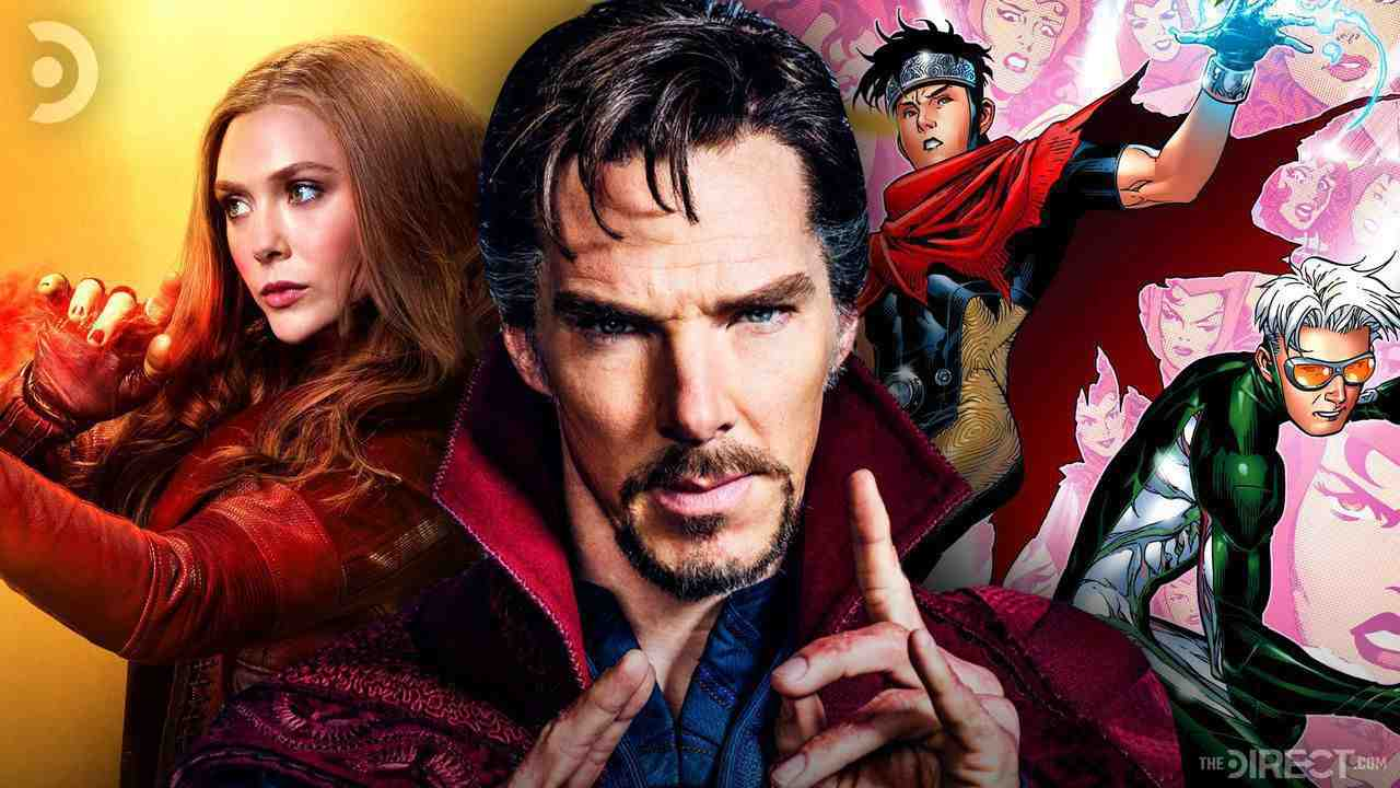 Wanda on left, Doctor Strange in middle, Wiccan and Speed on right