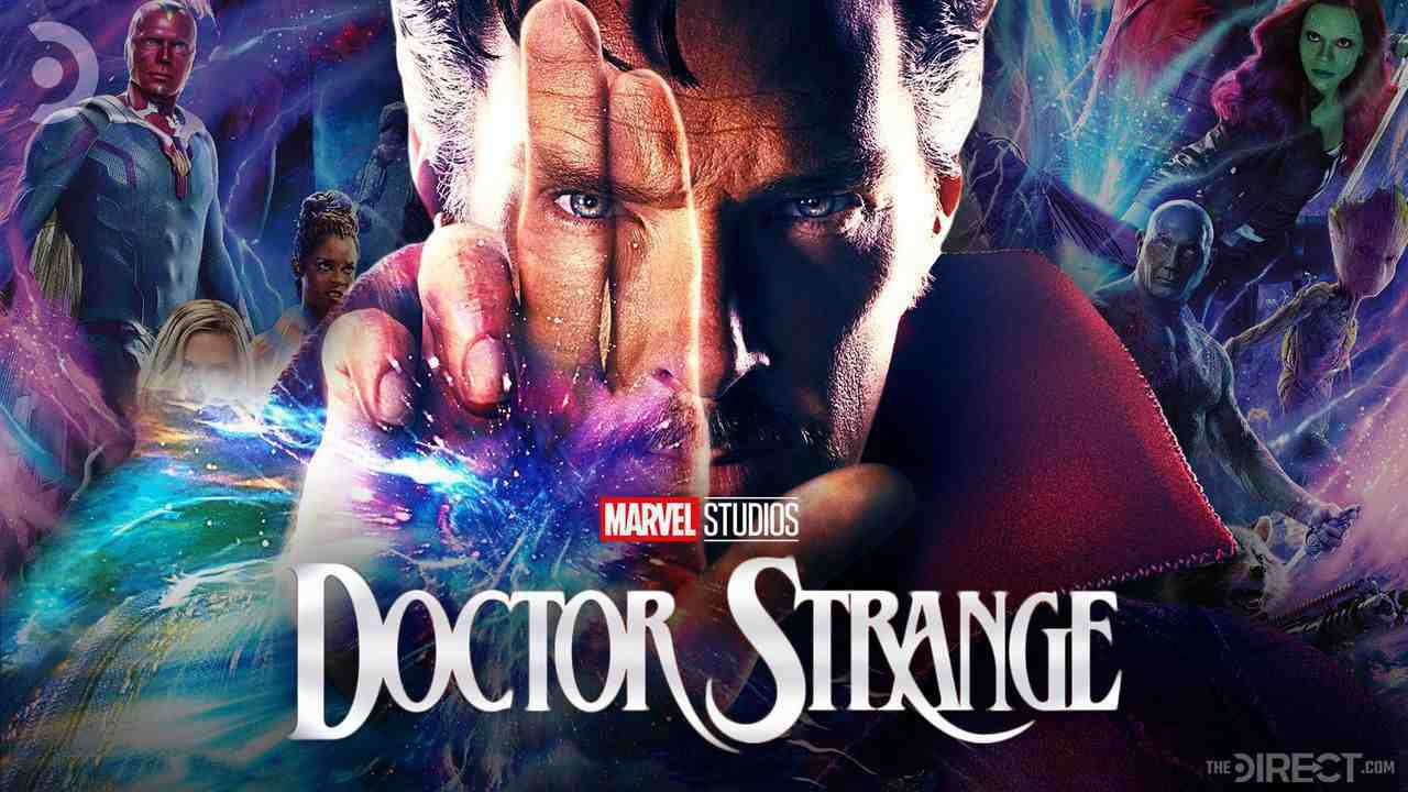 Doctor Strange with various other MCU characters in background