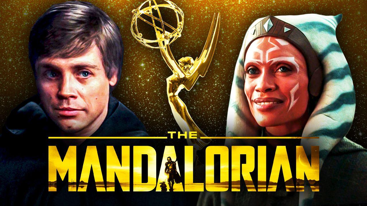 The Mandalorian logo, Mark Hamill as Luke Skywalker, Rosario Dawson as Ahsoka
