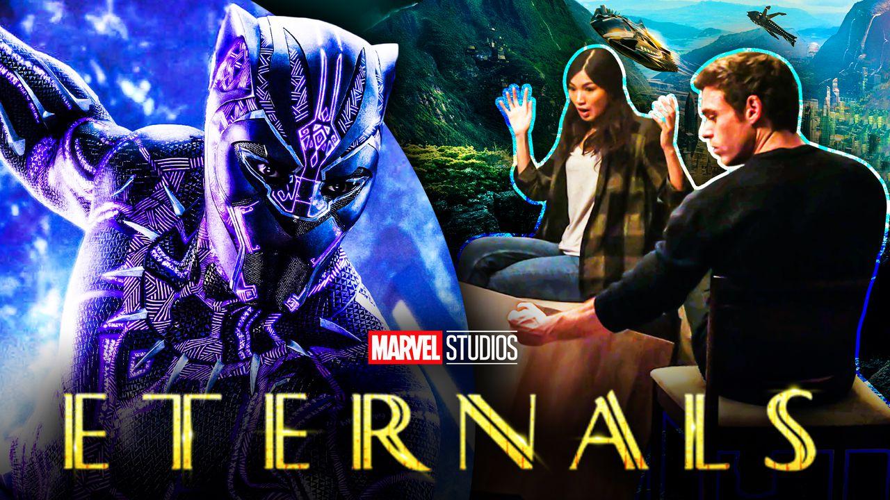 Eternals logo, Black Panther, Gemma Chan's Sersi, RIchard Madden's Ikaris