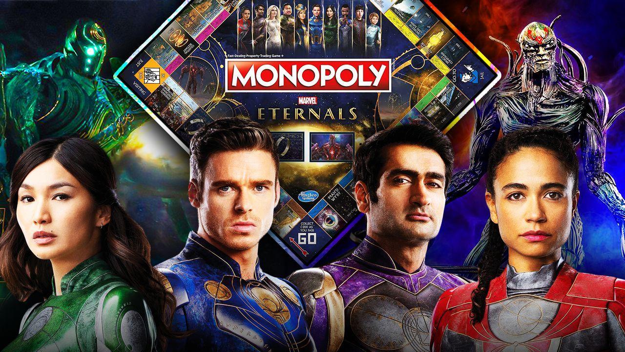 Gemma Chan as Sersi, Richard Madden as Ikaris, Kumail Nanjiani, Lauren Ridloff, Monopoly Board