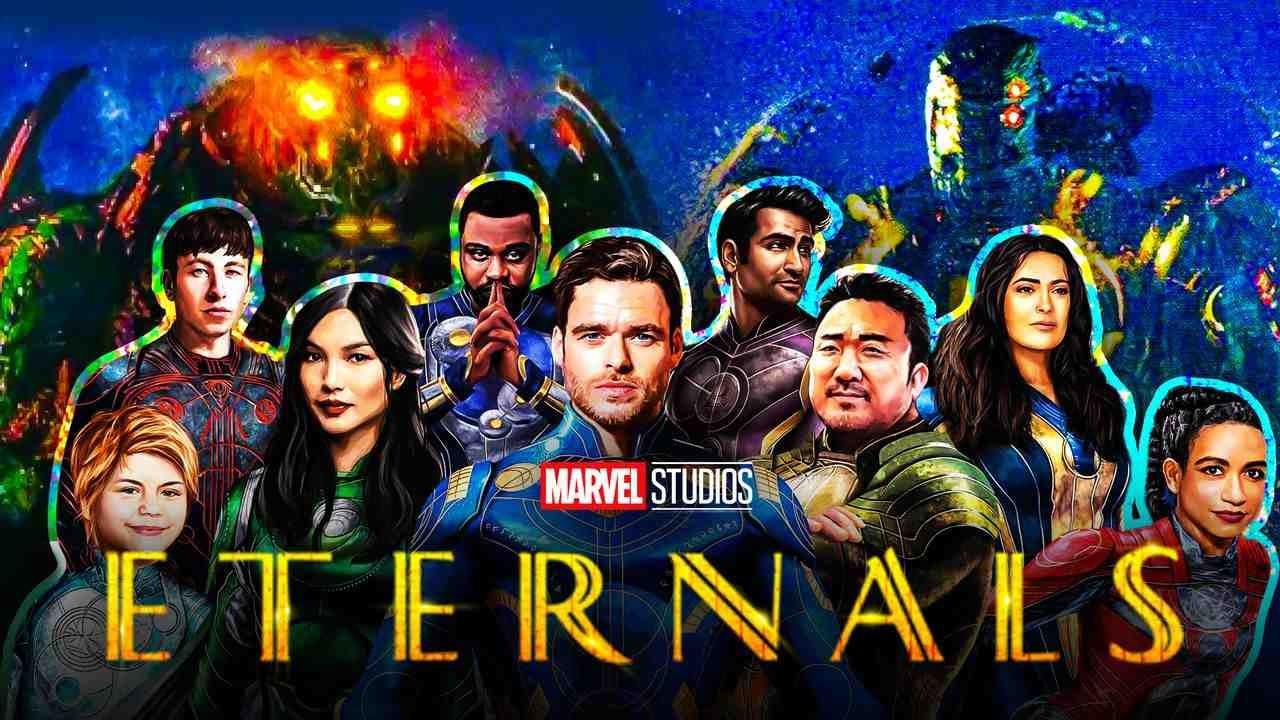 The cast of Eternals, Celestials in background