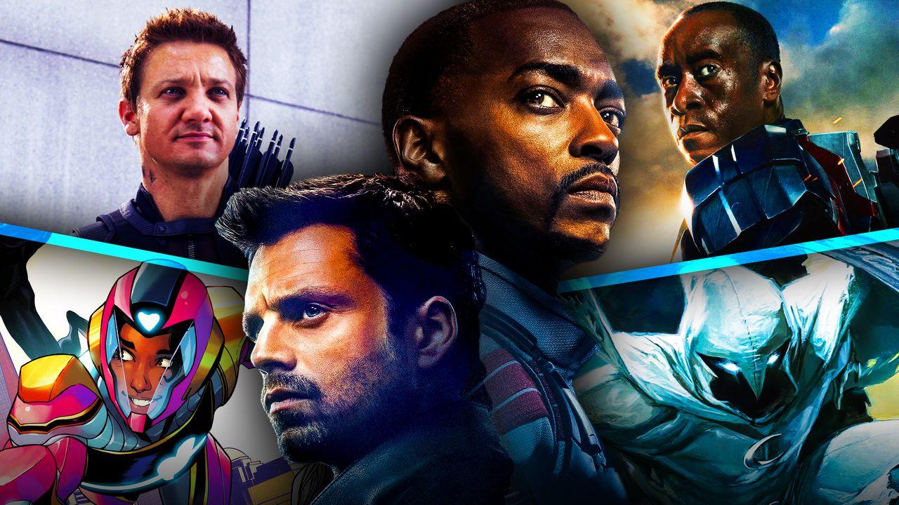 Anthony Mackie as Sam Wilson, Sebastian Stan as Bucky Barnes, Hawkeye, Ironheart