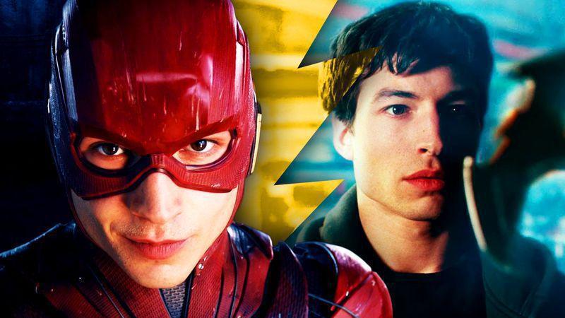 Ezra Miller's Flash in costume next to Ezra Miller as Barry Allen in Justice League.