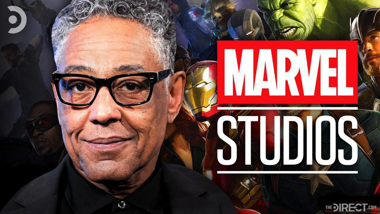 Giancarlo Esposito with Avengers in the background