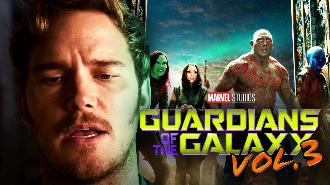 Chris Pratt as Peter Quill on left with Guardians of the Galaxy group on right