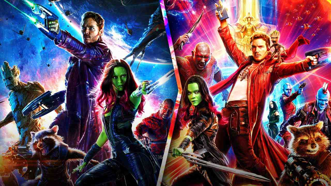 Guardians of the Galaxy posters with an arrow pointing right