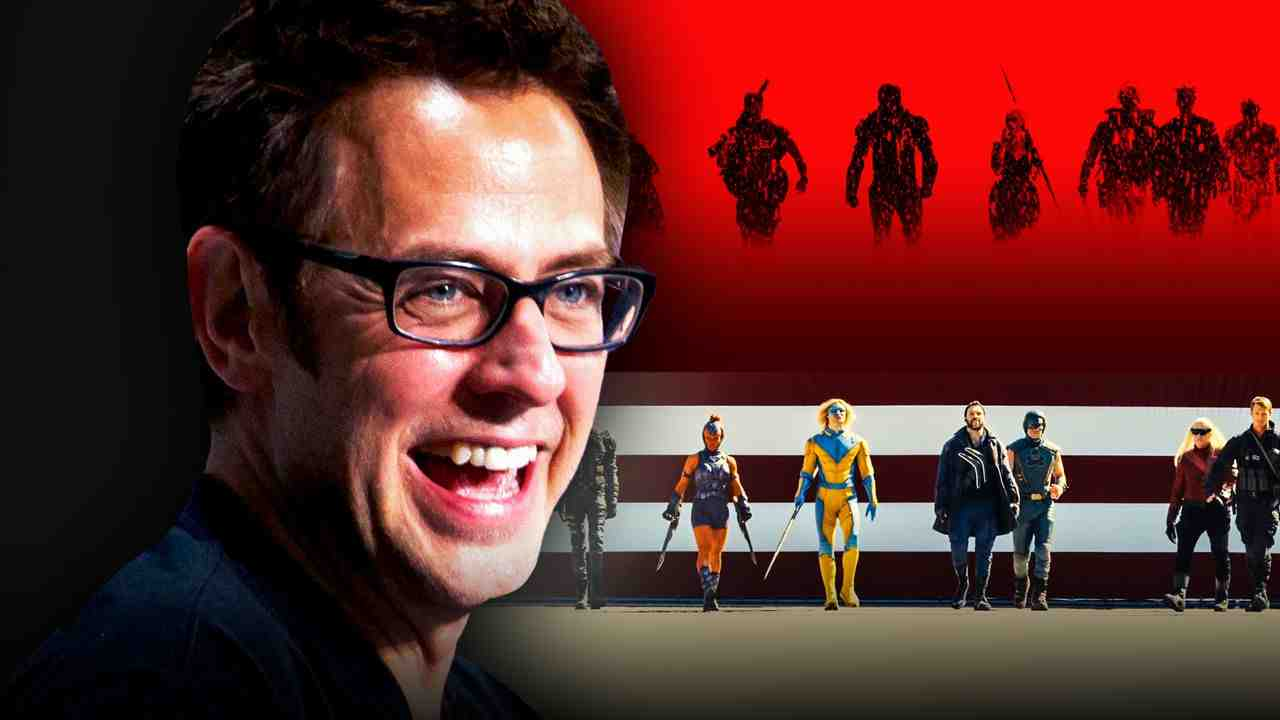 James Gunn, The Suicide Squad team on a red and white background