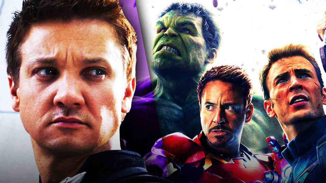 Hawkeye on left with Hulk, Iron Man, and Captain America on right