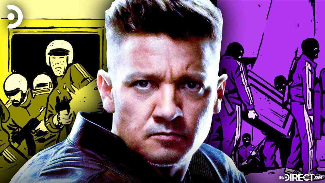 Tracksuit Mafia on siders, Jeremy Renner's Hawkeye in center