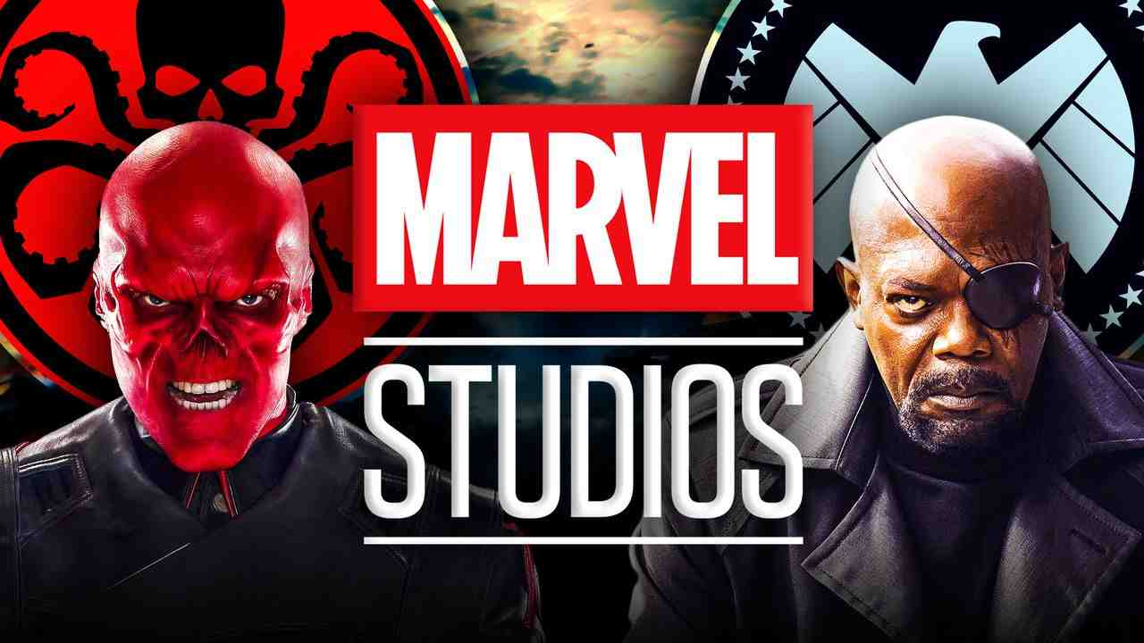 HYDRA and SHIELD logos, Red Skull and Nick Fury