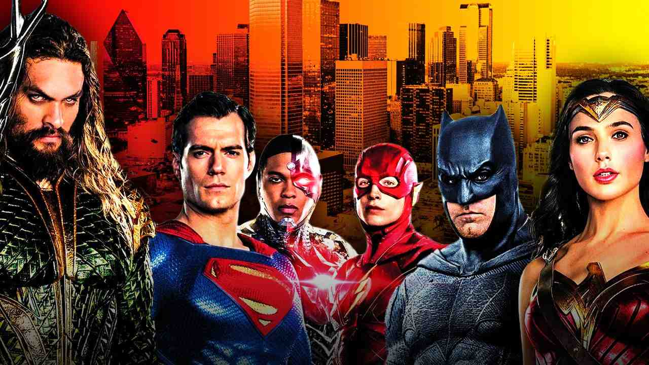 Justice League in front of cityscape