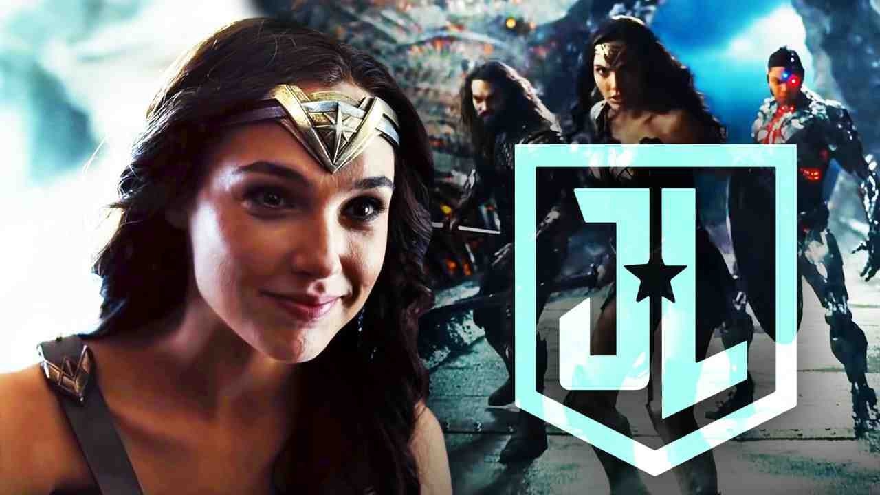 Wonder Woman on left and Justice League on right