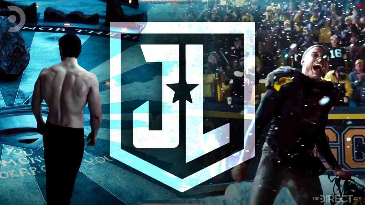 Henry Cavill as Superman, Justice League Logo, Ray Fisher as Victor Stone