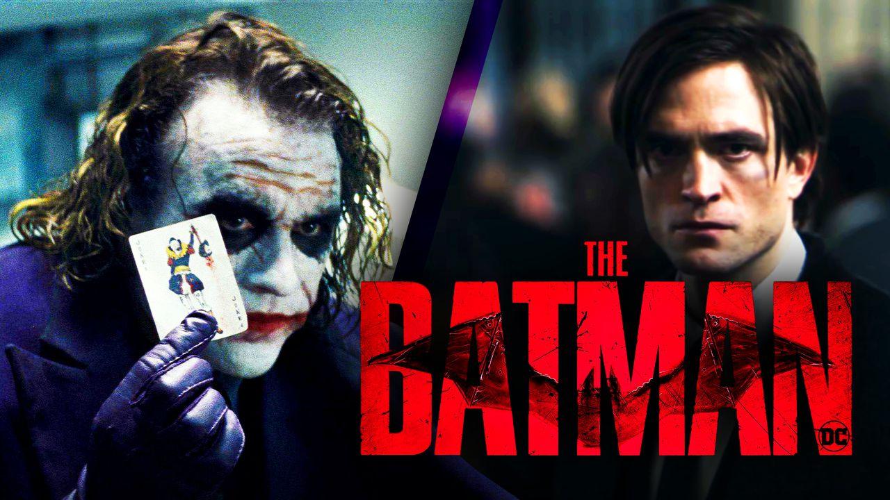 Ledger Joker, Pattinson Bruce Wayne, The Batman logo