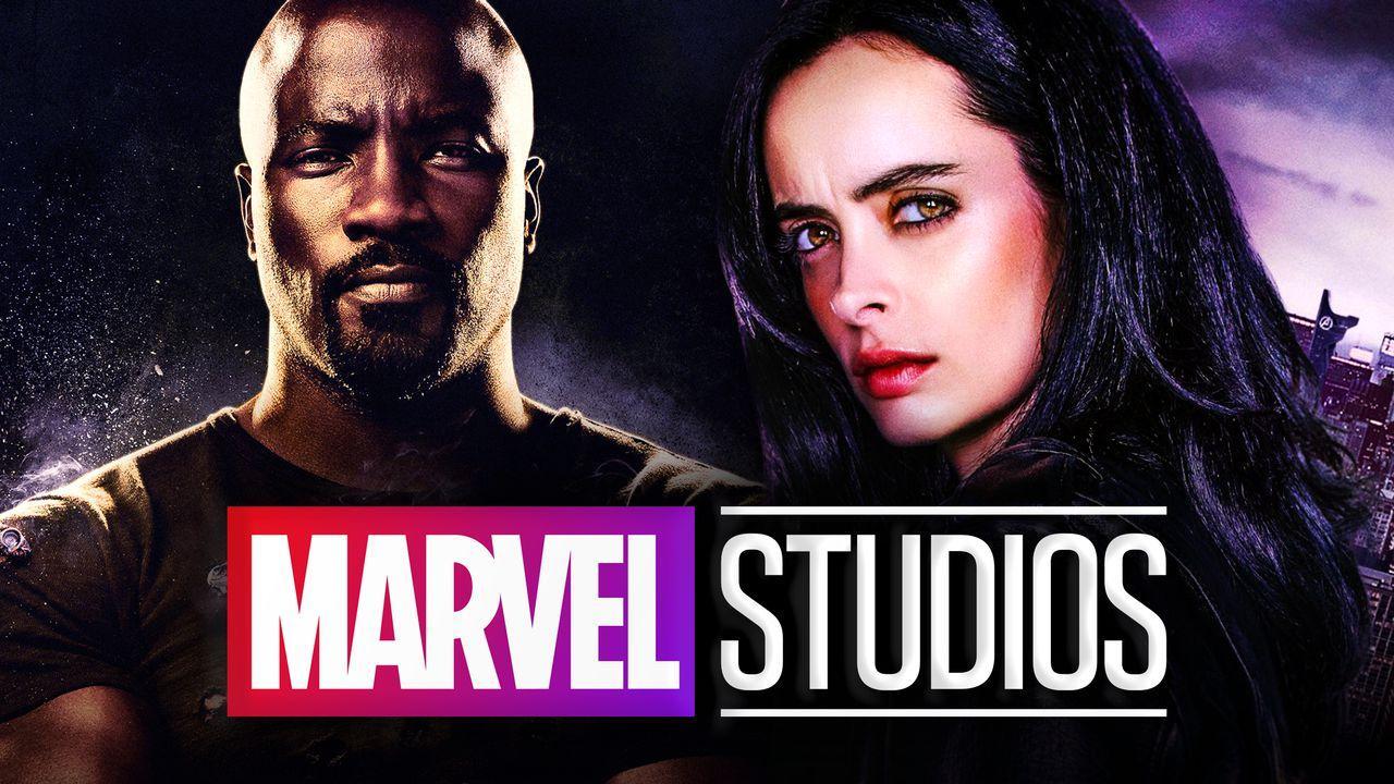 Marvel Studios logo, Krysten Ritter as Jessica Jones, Mike Colter as Luke Cage