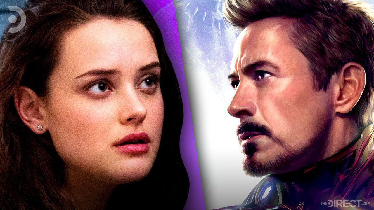 Katherine Langford on the left, Robert Downey Jr. As Tony Stark on the right