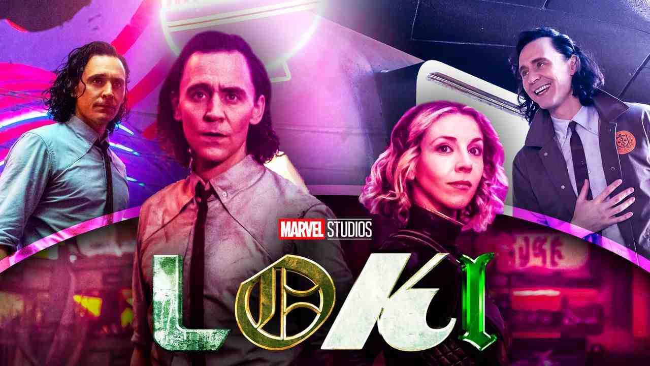 Tom Hiddleston as Loki, Sophia Di Martino as Sylvie, Loki logo