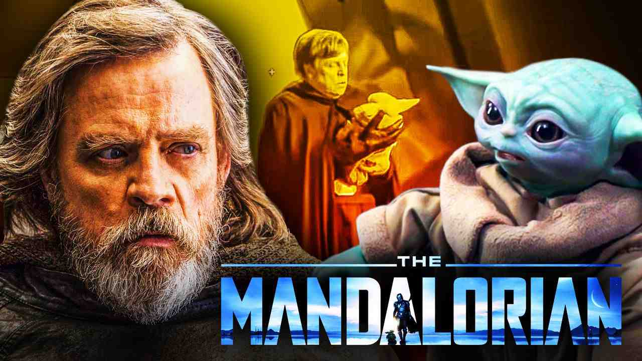 Mark Hamill as Luke Skywalker, Grogu, The Mandalorian logo