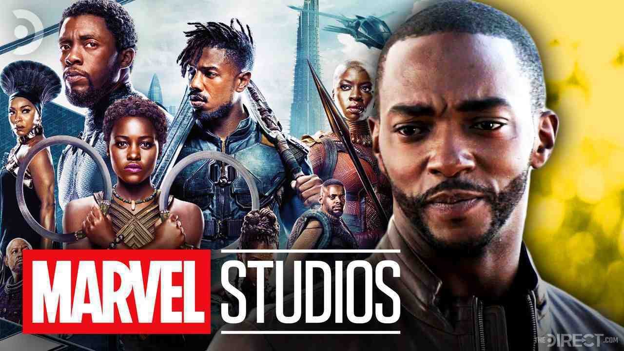 Black Panther poster, the Marvel Studios logo, and Anthony Mackie