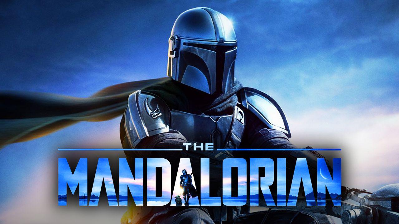The Mandalorian on a speeder bike, The Mandalorian logo