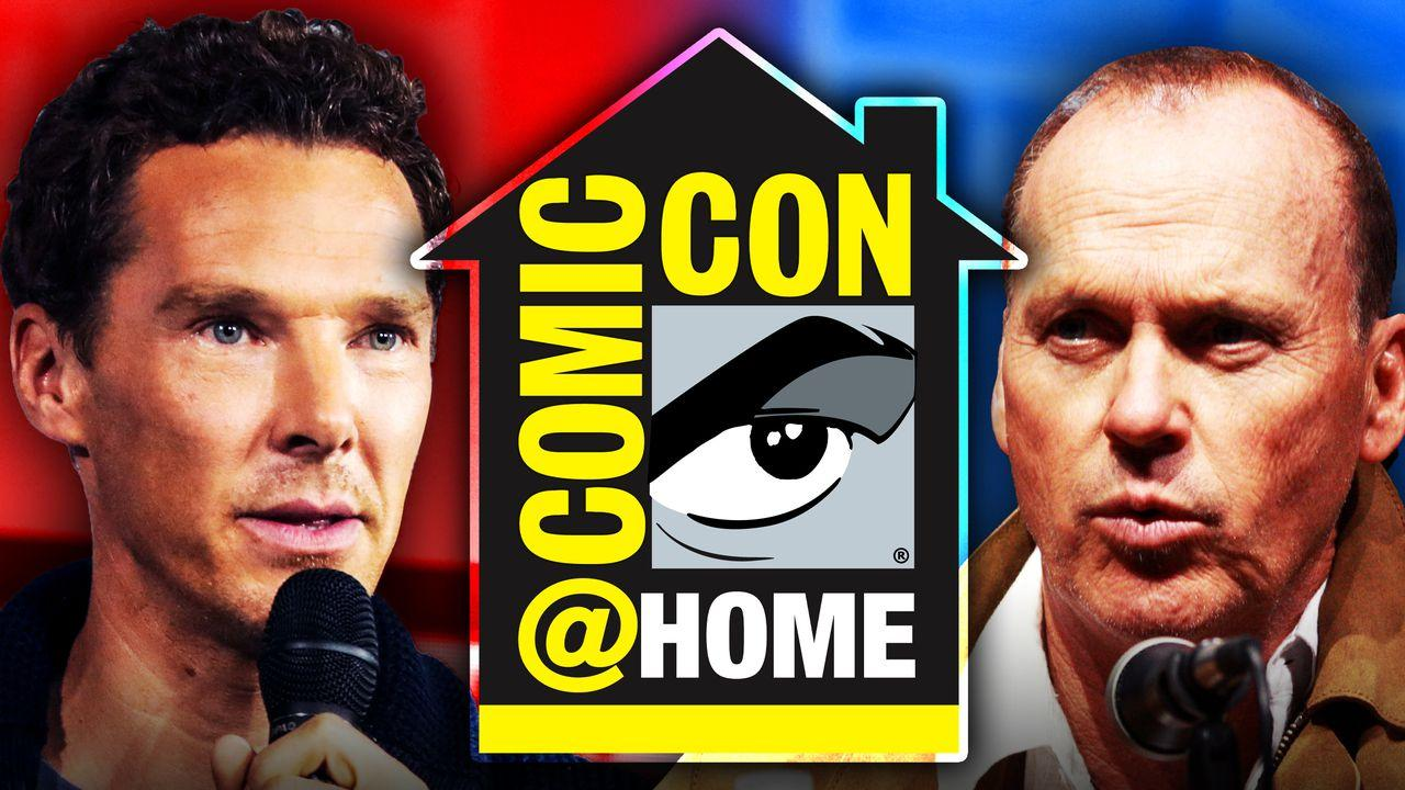 Michael Keaton  Benedict Cumberbatch Comic Con at Home logo