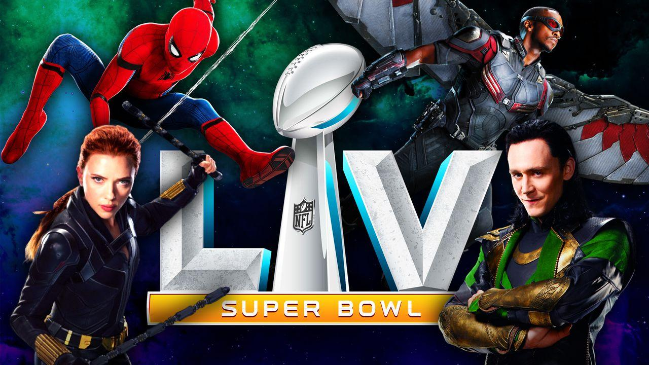 Spider-Man, Black Widow, Loki, Falcon, Super Bowl LV logo