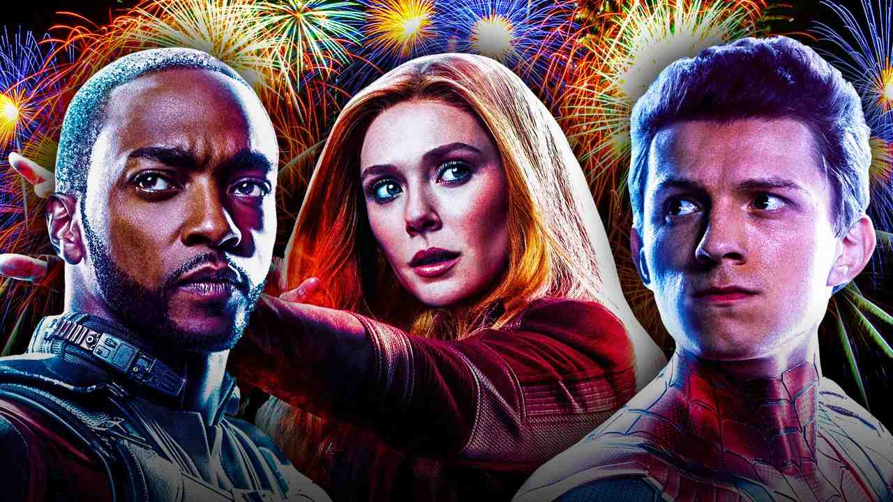 Falcon, Scarlet Witch, Spider-Man, fireworks in background