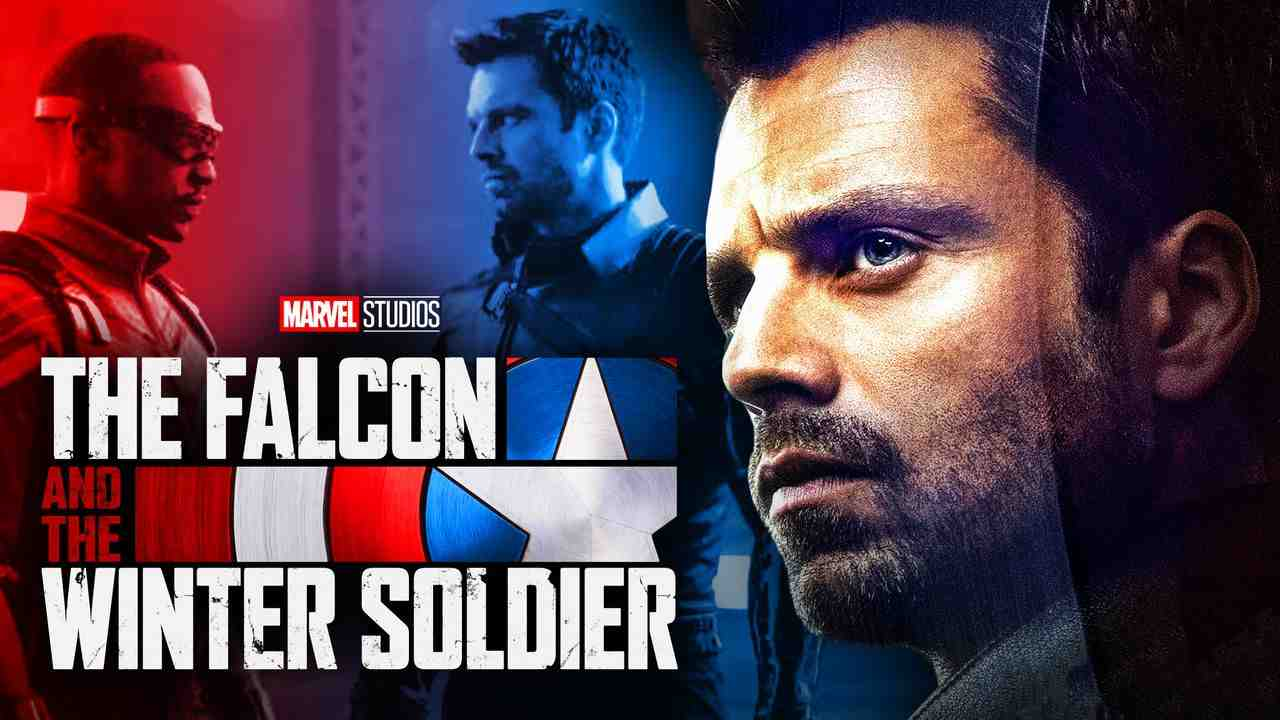 Preview image with Sam and Bucky, Winter Soldier on right with logo in foreground