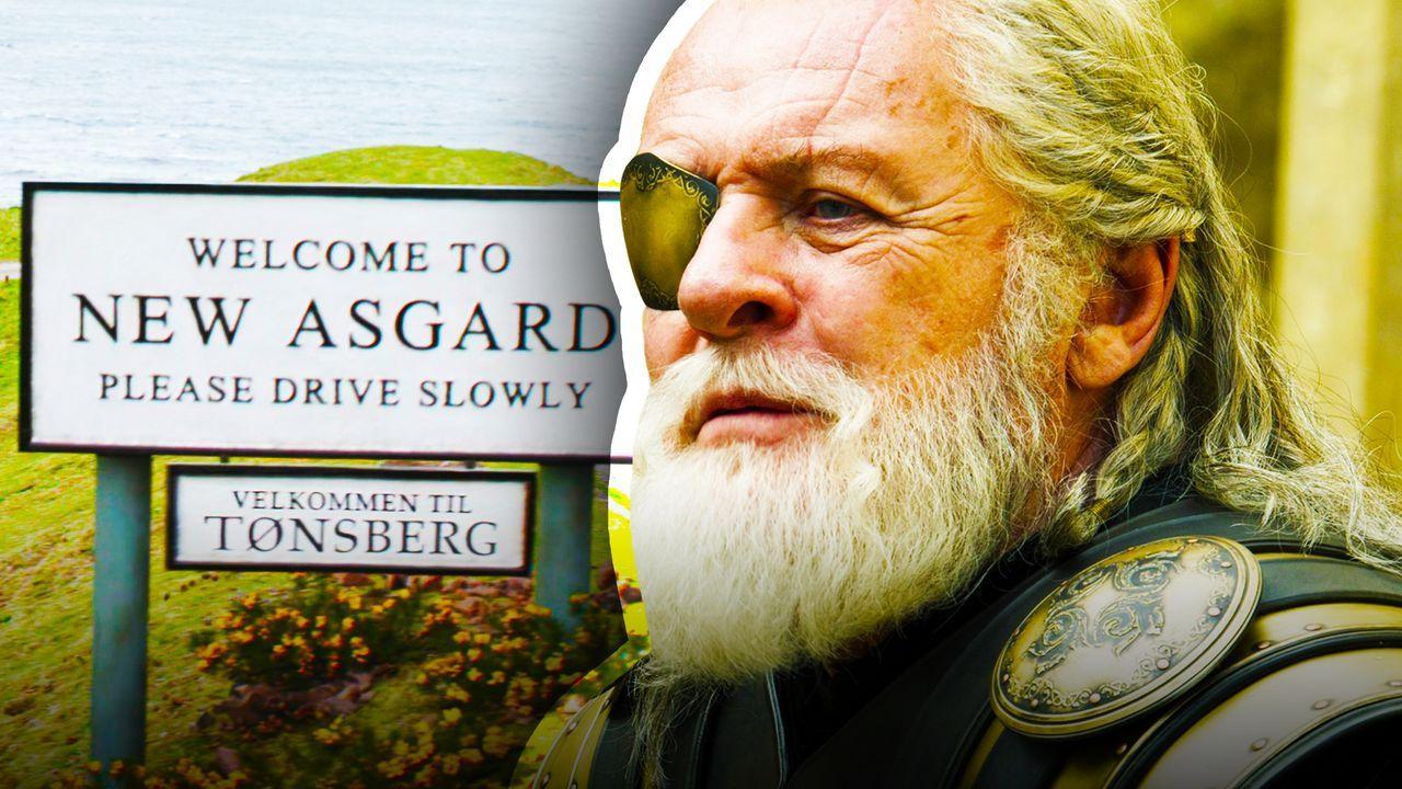 New Asgard signage, Anthony Hopkins as Odin