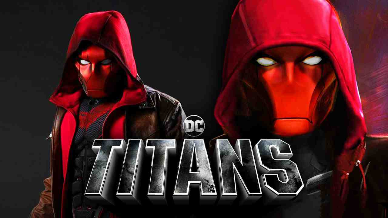 Live-Action Red Hood on left, concept art Red Hood on right