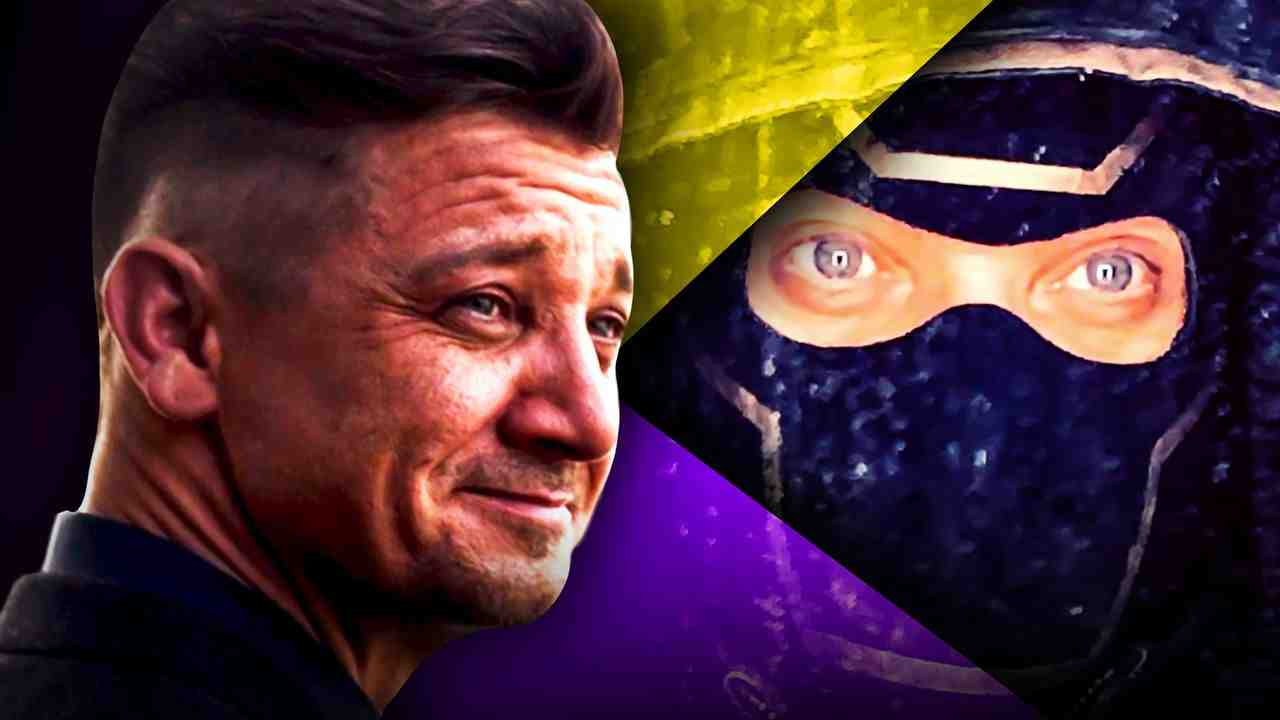 Jeremy Renner as Hawkeye on a purple and yellow background, close up of Ronin