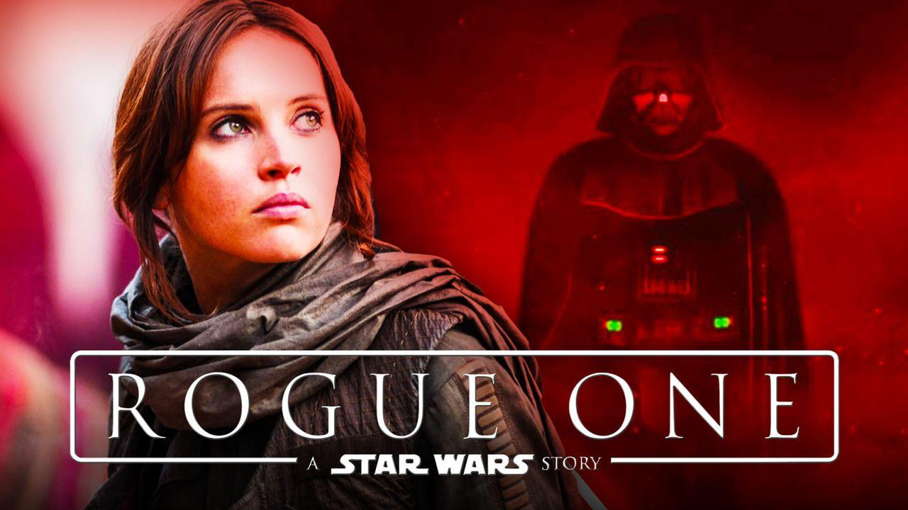 Jyn Erso and Darth Vader in Rogue One