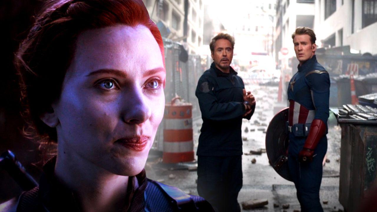Scarlett Johansson as Black Widow, Robert Downey Jr. as Iron Man, Chris Evans as Captain America