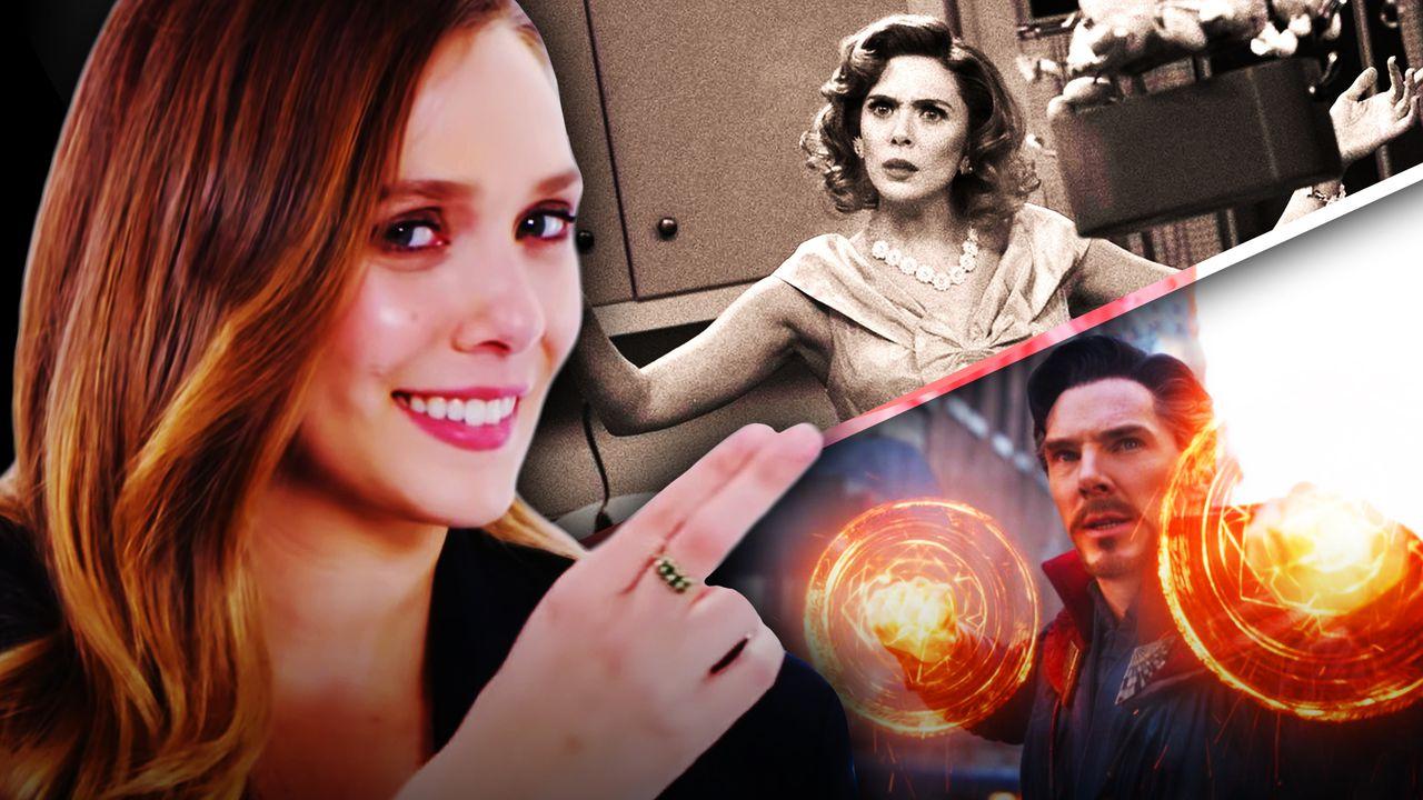 Elizabeth Olsen on left with Wanda and Doctor Strange on right