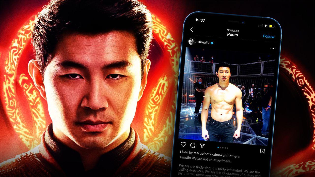 Simu Liu as Shang-Chi, Shang-Chi on phone