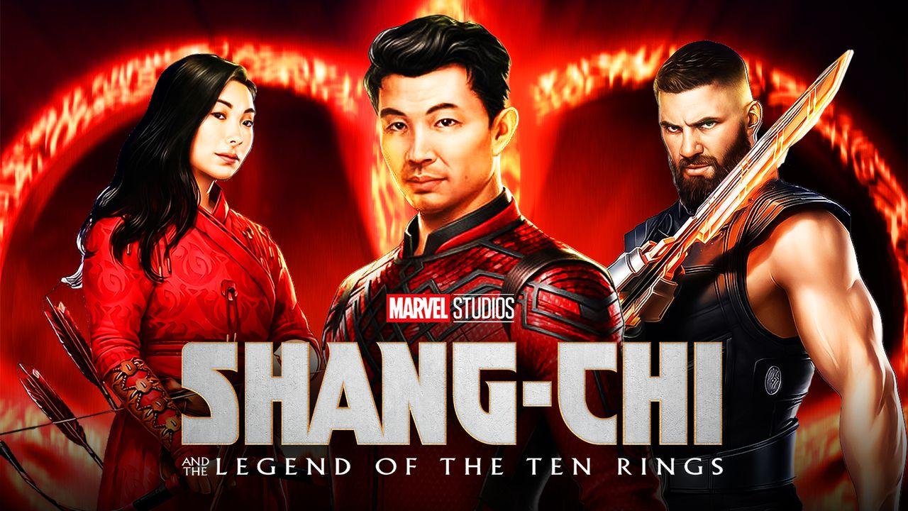 Simu Liu as Shang-Chi, Awkwafina as Katy, Razor Fist, Shang-Chi logo
