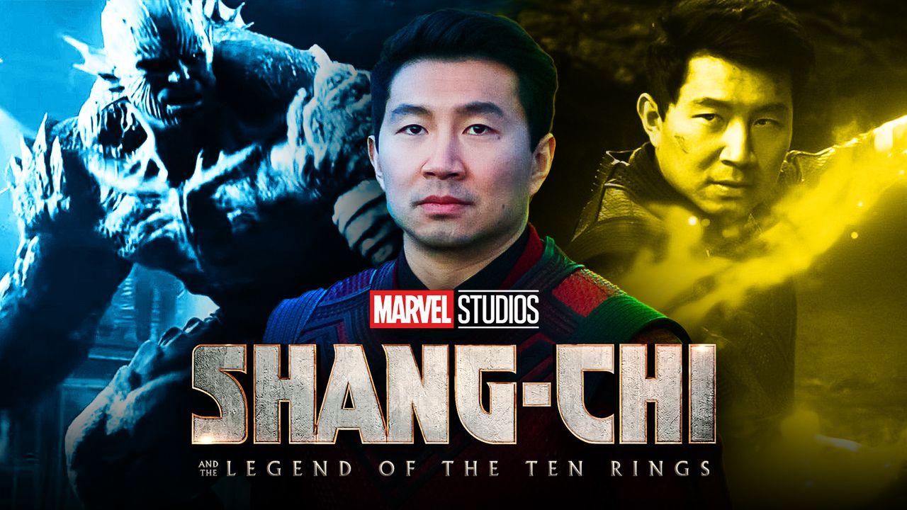Simu Liu as Shang-Chi, Shang-Chi logo, Abomination