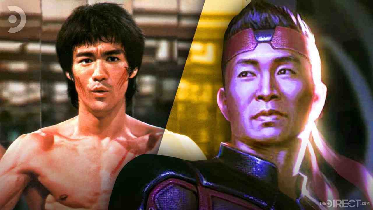 Bruce Lee on the left and Shang-Chi concept art on the right