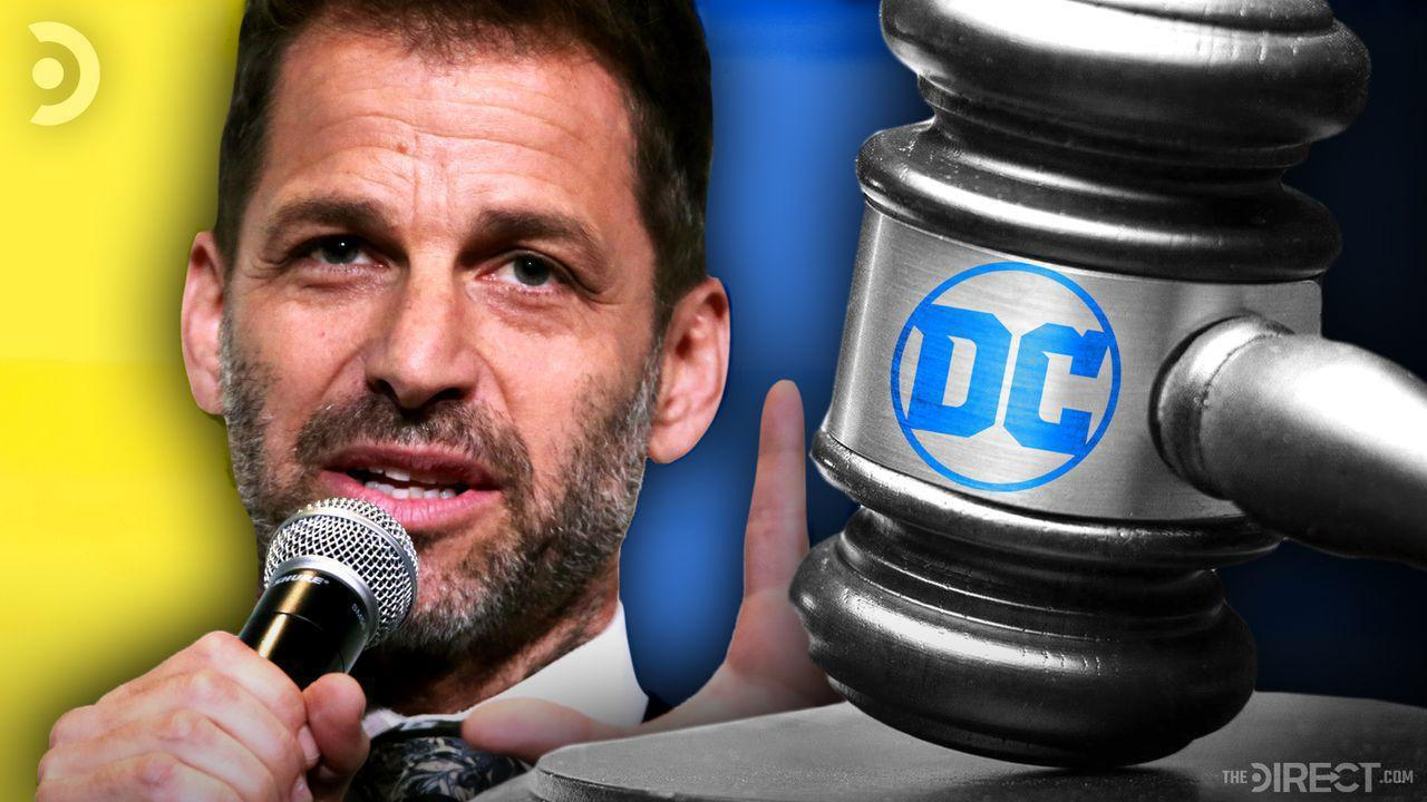 Zack Snyder and Gavel with DC logo