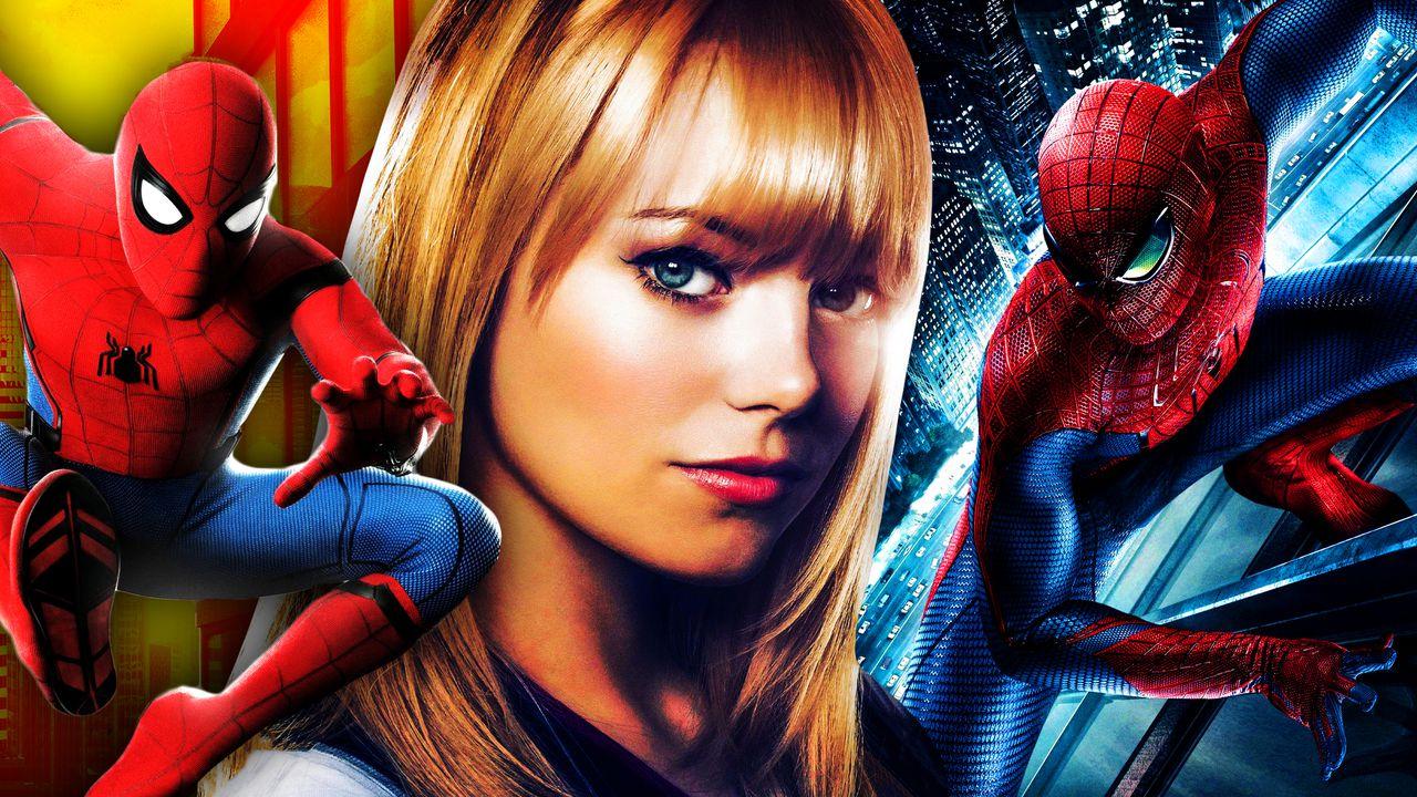 Spider-Man swinging, Emma Stone as Gwen Stacy